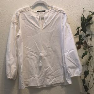Givenchy White Peasant Top with Shoulder Detail